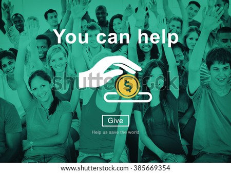 You Can Help Give Money Donate Concept - stock photo