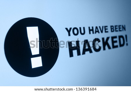 You have been hacked sign on LCD Screen - stock photo