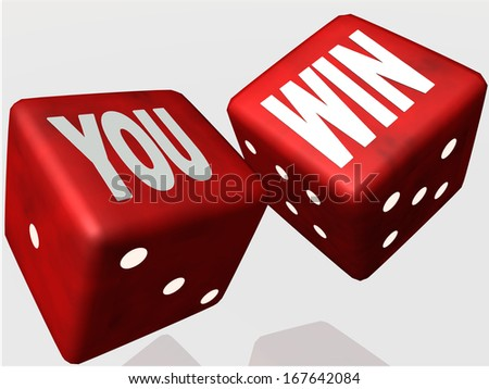 you win - red dice - auction  - stock photo