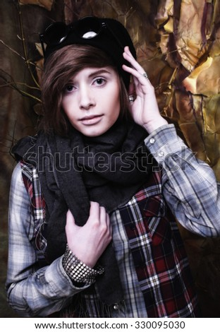 Youn woman in young hoodlum image - stock photo