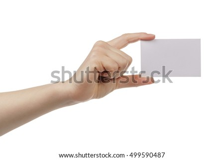yound female hand show empty business card