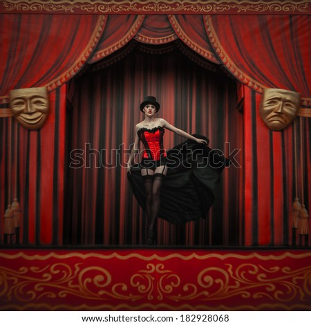 Young actress on the stage - stock photo