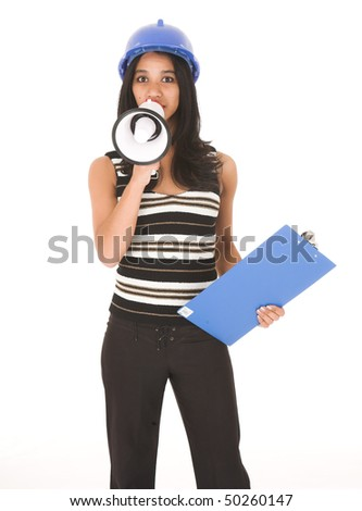 Young adult African-Indian businesswoman in casual office outfit with a megaphone, hard hat and clipboard on a white background. Not Isolated - stock photo