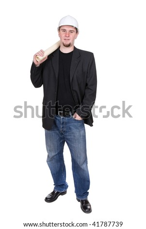 young adult architect. over white background - stock photo