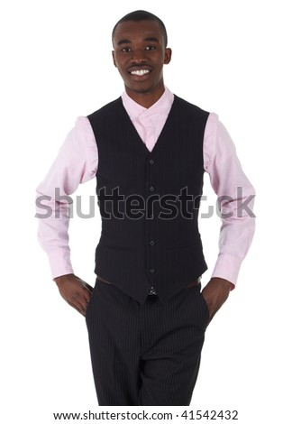 Young Adult black african businessman wearing a dark smart-casual outfit, with a pink shirt and dark waistcoat on a white background. Part of a series, Not Isolated.