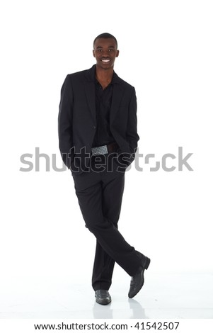 Young Adult black african businessman wearing a dark smart-casual suit and Jacket on a white background in various poses with various facial expressions. Part of a series, Not Isolated. - stock photo