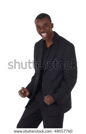 Young Adult black african businessman wearing a dark smart-casual suit. Not Isolated.