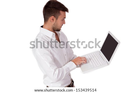 young adult business man and notebook isolated on white background