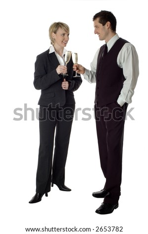 young adult business people toast with champagne on white - stock photo