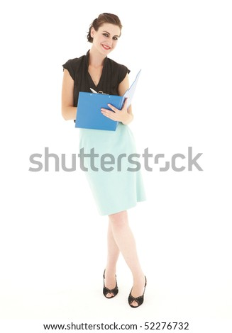 Young adult caucasian brunette businesswoman with red lips on a white background. Not Isolated