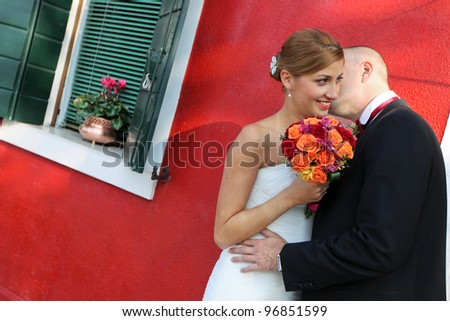 Young adult couple get married - stock photo