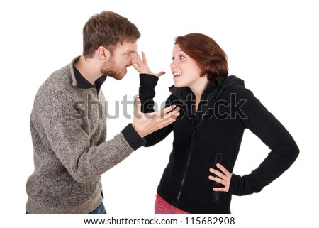 Young adult couple have an argument - stock photo