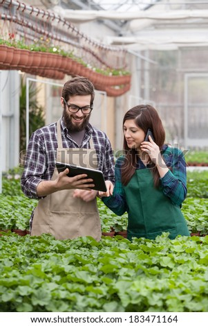 Young adult garden worker in apron using digital tablet at greenhouse - stock photo