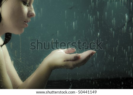 young adult girl catch the rain drop
