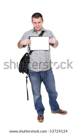 young adult guy over white background