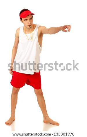 Young adult male lifeguard. Studio shot over white. - stock photo