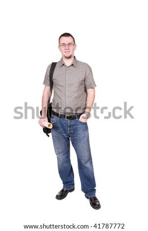 young adult man over white background - stock photo