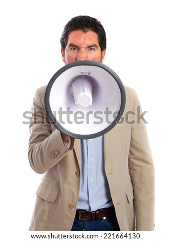 young adult man with a megaphone - stock photo