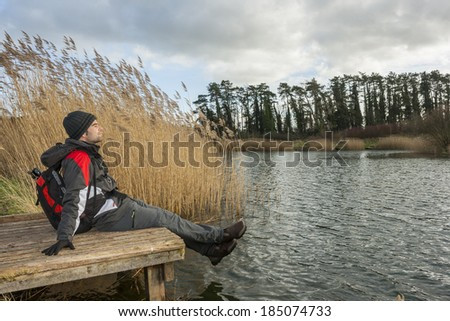 Young adult relaxing in nature
