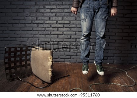 young adult stressed committed suicide - stock photo