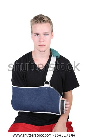 Young Adult with a broken hand - stock photo