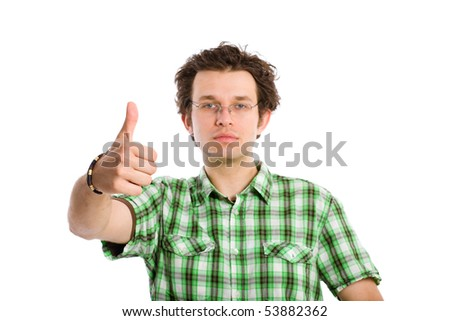 young adult with thumbs up gesture, isolated on white background, selective focus on hand, face is lightly blurred