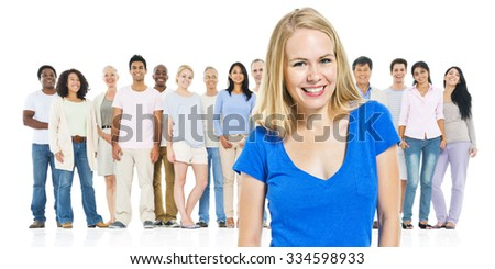 Young Adult Woman Standing Out From Crowd Concept