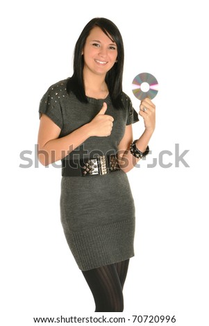 Young adult woman with a CD giving thumbs up