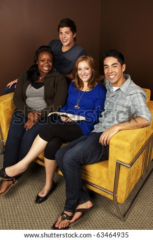 Young Adults Bible Study- Diverse Group of Friends - stock photo