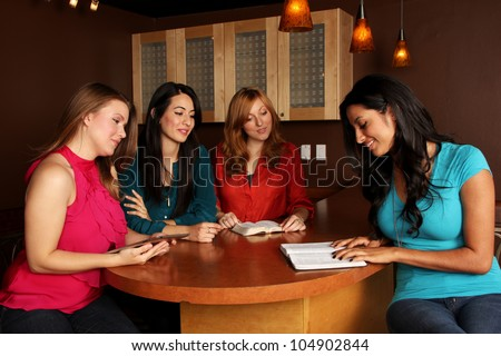 Young Adults Ladies Bible Study - stock photo
