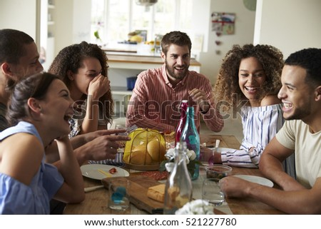 lunch table young adults laughing they talk table stock photo 521227855