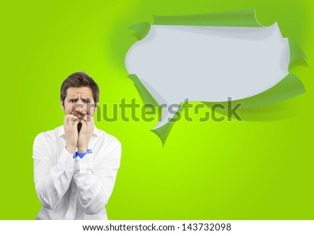 young afraid man on a bubble speech background