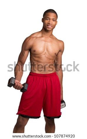 Young African American Athlete Holding Lifting Dumbbells on Isolated White Background