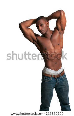 Young African American black man with his shirt removed - stock photo
