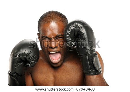 Young African American Boxer screaming isolated on a white background - stock photo