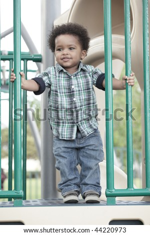 Young African American boy at a playground