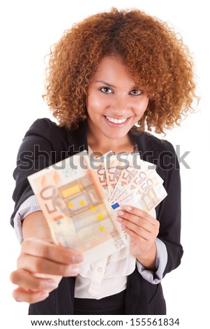 Young african american business woman holding euro bills, isolated on white background - African people