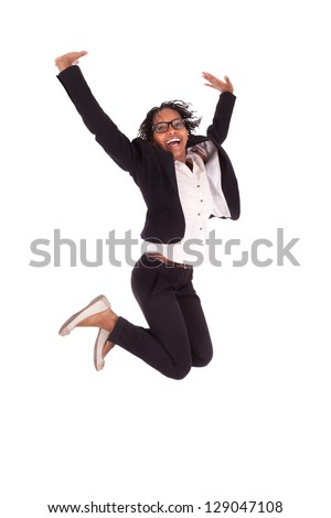 Young african american business woman jumping, success concept, isolated on white background