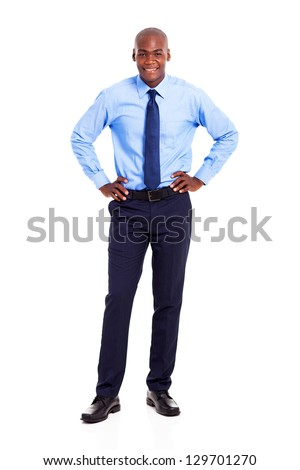 young african american businessman full length portrait isolated on white