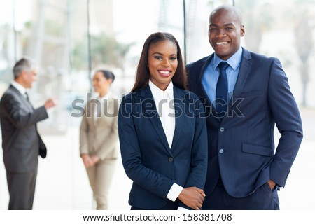 young african american businesspeople in office - stock photo