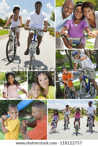 Young African American families, women, men, father, mother boy girl children riding bicycles in the summer and being active playing baseball