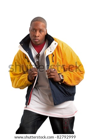 Young African American Fashion Model Wearing Jacket on Isolated White Background - stock photo