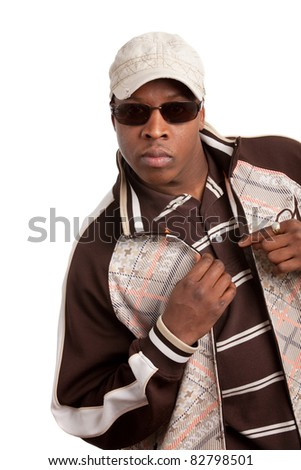 Young African American Fashion Model Wearing Jacket on Isolated White Background
