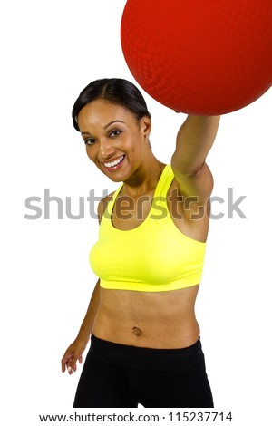young African American Female holding a dodge ball