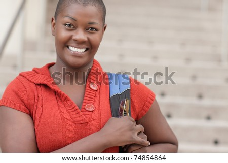 Young African American female student - stock photo