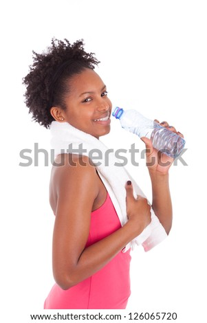 African American Woman Drinking Water