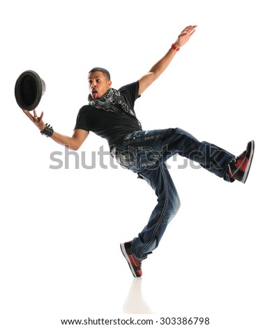 Young African American hip hop dancer performing with hat isolated over white background - stock photo