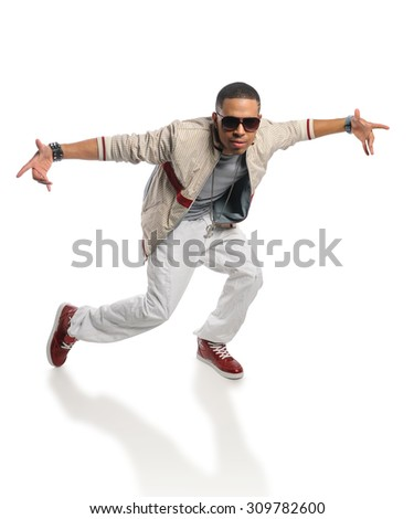 Young African American hip hop man dancing isolated over white background  - stock photo