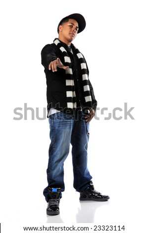 Young African american hip-hop man pointing - stock photo