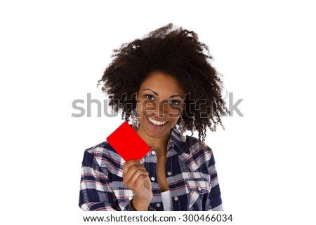 Young african american holding red card - isolated on white background - stock photo